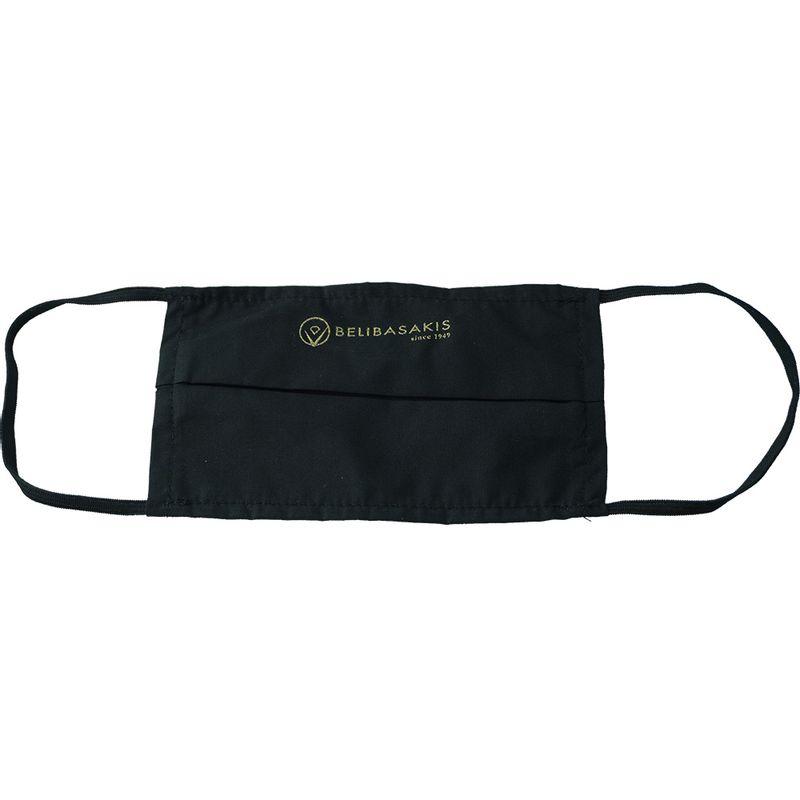 Υφασμάτινη Μάσκα Προστασίας Με Πιέτα Μαύρη με εκτύπωση (Μεταξοτυπία)